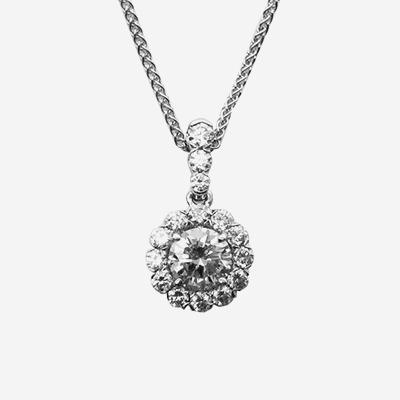 18kt Halo Diamond Pendant