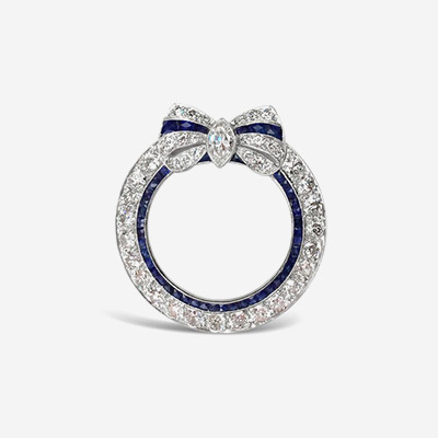 Platinum Diamond and Sapphire Circle Brooch