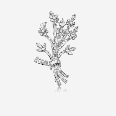 Platinum Diamond Flower Pin