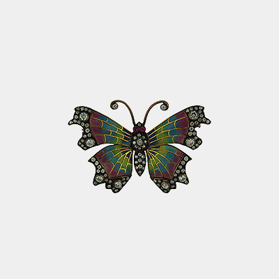 18kt Diamond Pliqué-a-Jour Fancy Butterfly Pin