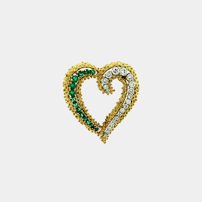 18kt Emerald and Diamond Heart Pin