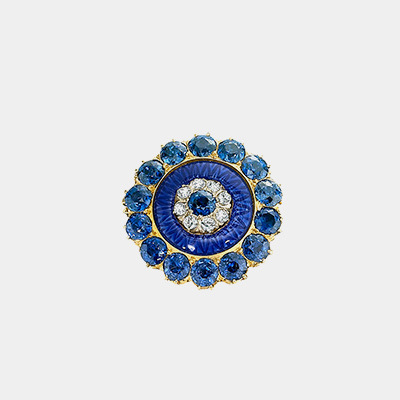 18kt Antique Sapphire and Diamond Pin
