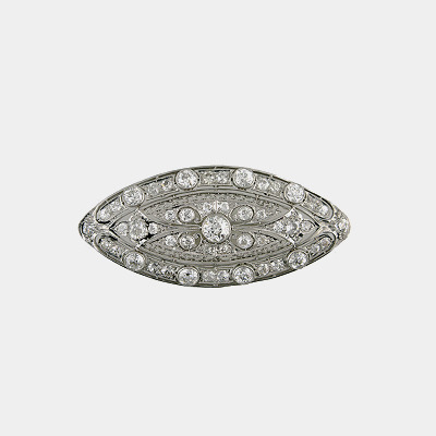 Platinum Edwardian Elliptical Diamond Brooch