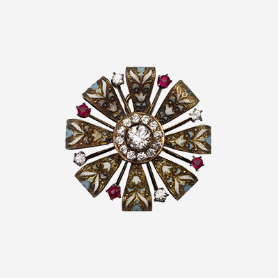 14kt Antique Diamond Enamel Pin with Ruby Accents