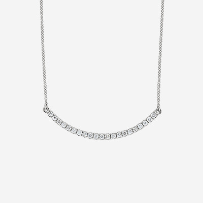 18kt Crescent Shape Diamond Necklace