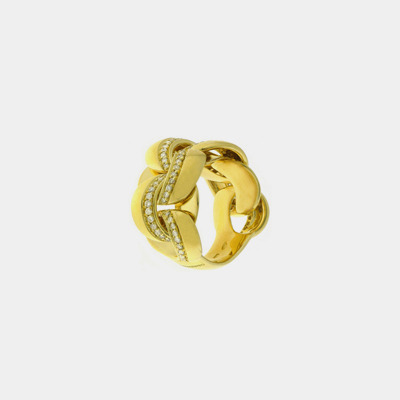 Gold and Diamond Braided Ring