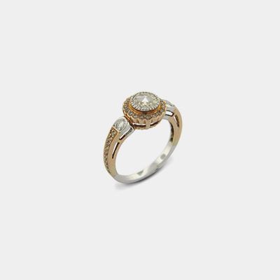 14K Champagne Rose Cut Diamond engagement Ring