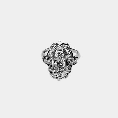 Platinum Antique Transitional Cut Diamond Ring