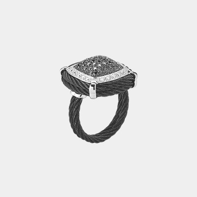 Black and White Diamond Cable Ring