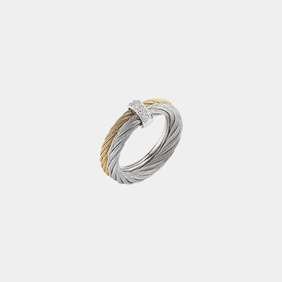 Double Nautical Cable Diamond Ring