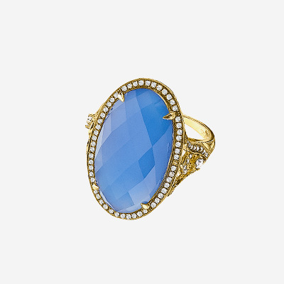 14kt Blue Agate and Faceted White Topaz Dome with Brown Diamonds Ring