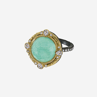 18kt Green Turquoise and Diamond Ring