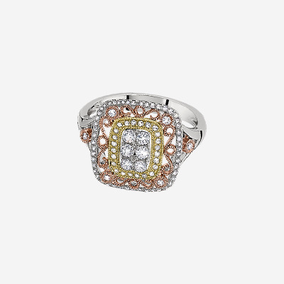 14kt Tri-Color Ring with Pave Diamond and Scroll Work Ring