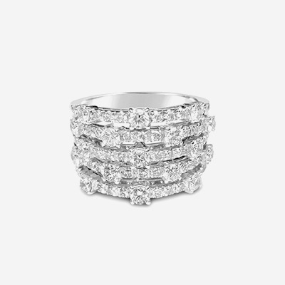 18kt 5 Row Diamond Ring