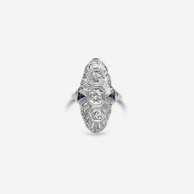 Platinum Antique Diamond and Sapphire Ring