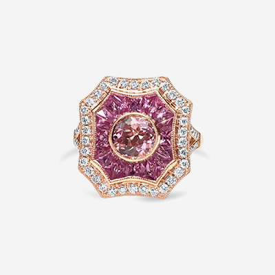 14kt Pink Sapphire and Morganite Ring