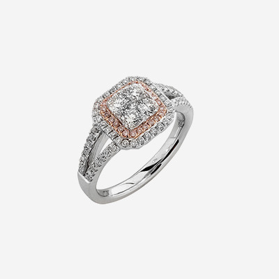 Platinum White and Pink Diamond engagement Ring