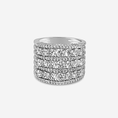 18kt Seven Row Diamond Ring