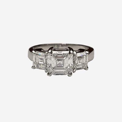 Platinum 3 Diamond Asscher Cut Engagement Ring