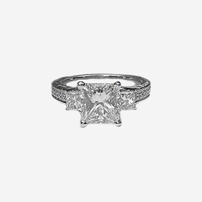 Platinum Antique Princess Cut Diamond Engagement Ring
