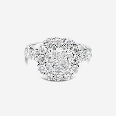 18kt Radiant Cut Diamond Halo Engagement Ring