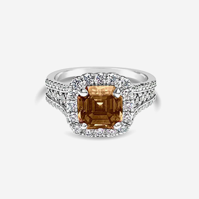Platinum Natural Fancy Orange Brown Asscher Cut Diamond Engagement Ring