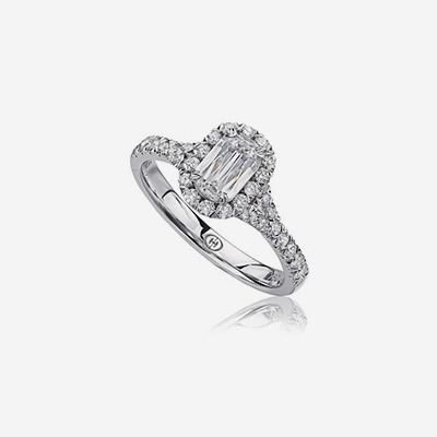 18kt Diamond Split Shank Halo Engagement Ring