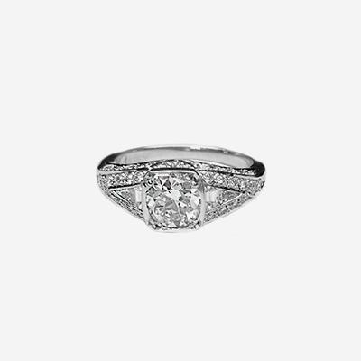 Platinum Bezel Set European Cut Diamond