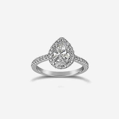 14kt Pear Diamond Halo Engagement Ring
