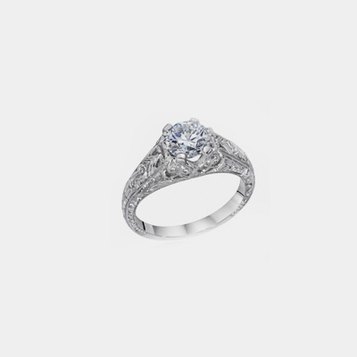 Platinum Antique Style Diamond Engagement Ring