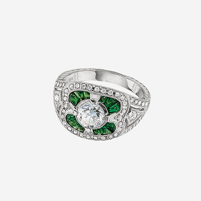 18kt Diamond and Tsavorite Garnet Ring