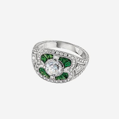 18kt Diamond and Tsavorite Garnet Ring