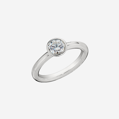 Platinum Tiffany Bezel Set Engagement Ring