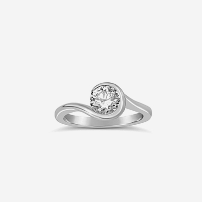 Platinum Bypass Solitaire Diamond Engagement Ring