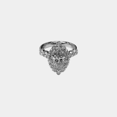 18K Marquise Diamond Engagement Ring