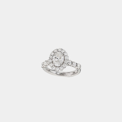 18K Oval Diamond Engagement Ring
