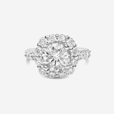 Platinum Round Diamond Halo Engagement Ring