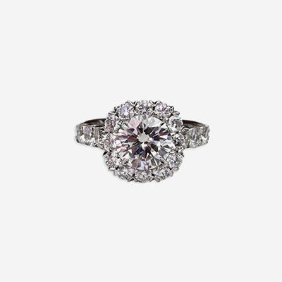 18kt Diamond Halo Engagement Ring