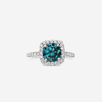 14kt Blue Diamond Halo Engagement Ring