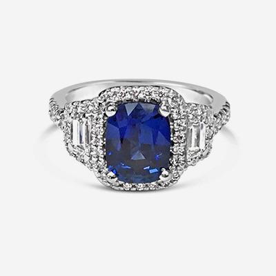 Platinum Cushion Sapphire Halo Ring
