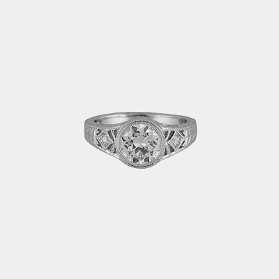 18K Antique Style Engagement Ring
