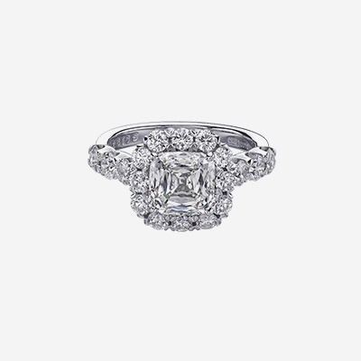 18kt Cushion Diamond Halo Engagement Ring