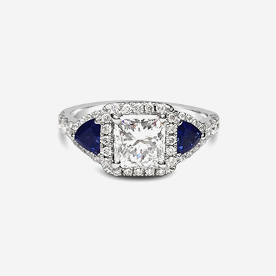 14kt Diamond and Sapphire Halo Engagement Ring