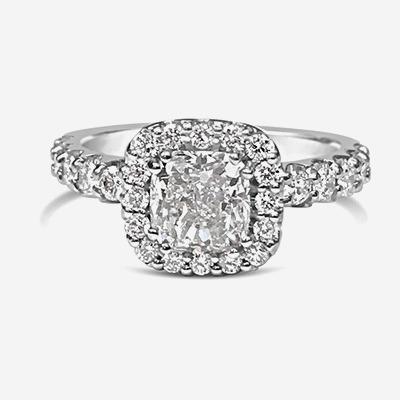 18kt Cushion Diamond Halo Engagement Ring