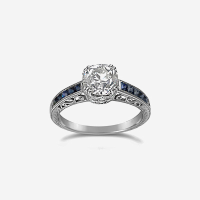18kt Antique Diamond and Sapphire Engagement Ring