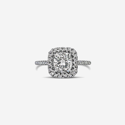 Platinum Cushion Diamond Halo Engagement Ring