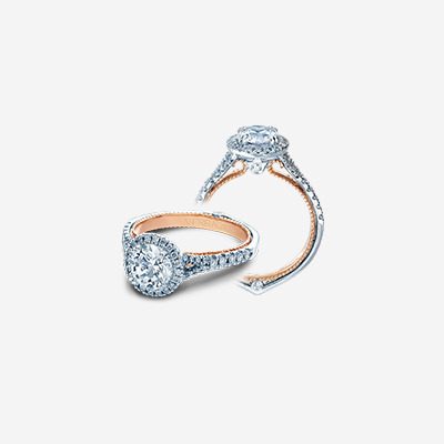 Couture Engagement Ring with Rose Gold Profile
