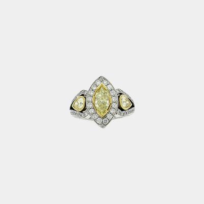 Platinum & 18K Yellow Marquise Diamond Engagement Ring