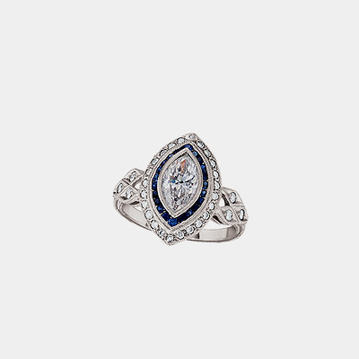 Platinum Antique Style Marquise Diamond Engagement Ring