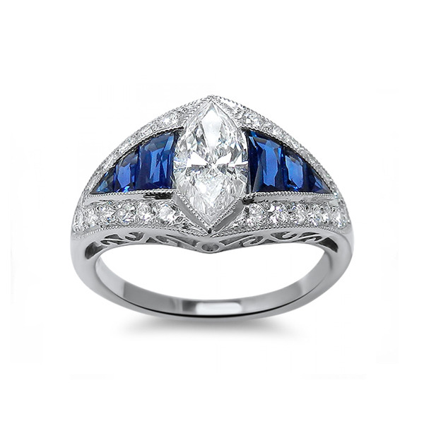 18kt White Gold Marquise Diamond And Sapphire Engagement Ring E B Horn Jewelry